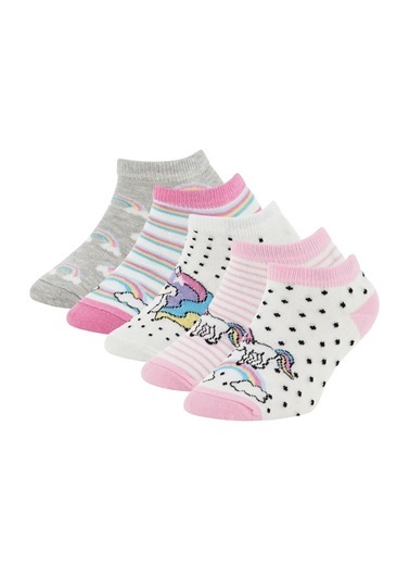 DeFacto Kız Çocuk Unicorn Desenli 4'lüPatik Çorap Renkli